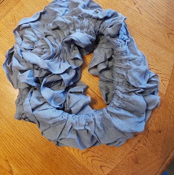 Gray ruffle infinity Scarf